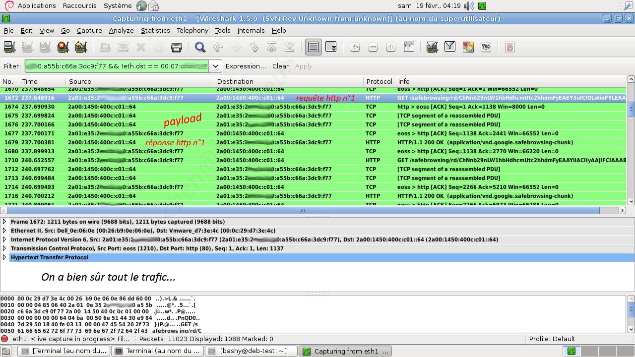 Capture du flux détourné avec Wireshark